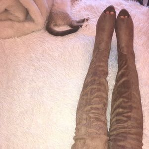 Thigh High Suede Open Toed Boots